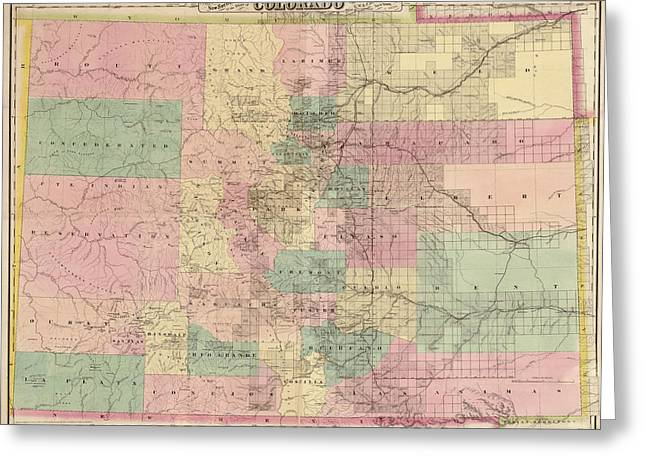 Antique Map Of Colorado By G.w. And C.b. Colton And Co. - 1878 Greeting Card by Blue Monocle
