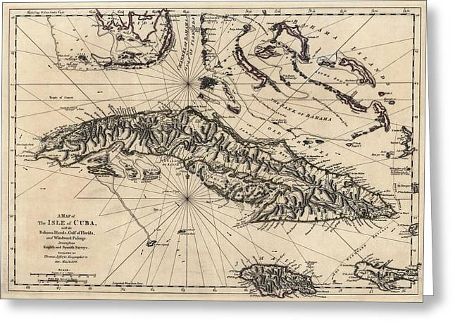Antique Map Of Cuba By Thomas Jefferys - 1768 Greeting Card