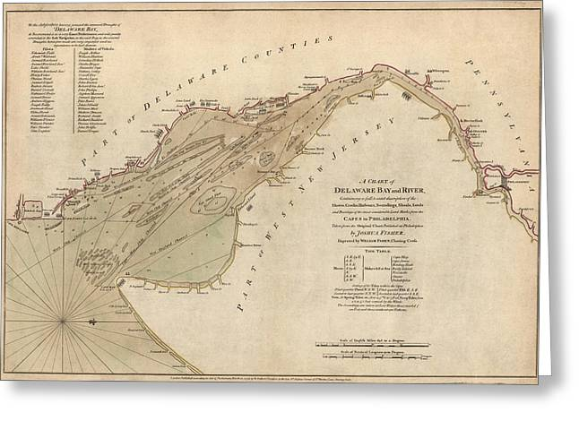 Antique Map Of Delaware Bay By William Faden - 1776 Greeting Card by Blue Monocle