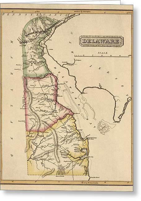 Antique Map Of Delaware By Fielding Lucas - Circa 1817 Greeting Card by Blue Monocle