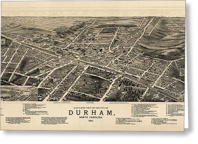 Antique Map Of Durham North Carolina By A. Ruger - 1891 Greeting Card