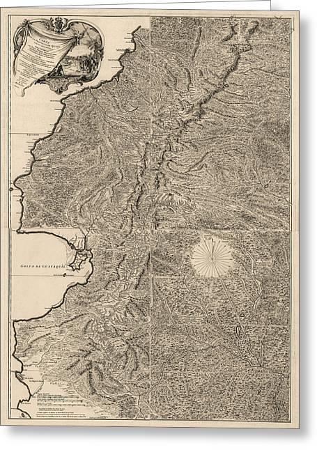 Antique Map Of Ecuador By Pedro Vicente Maldonado - 1750 Greeting Card