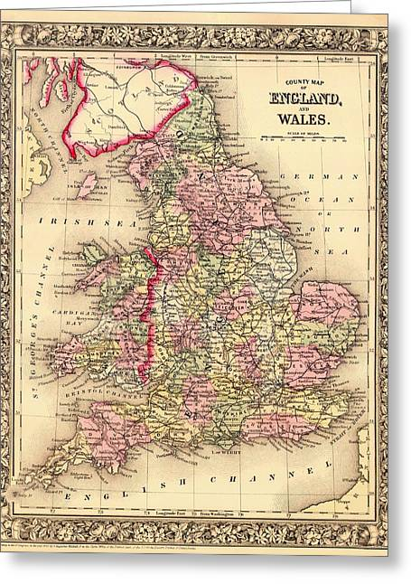 Antique Map Of England And Wales 1864 Greeting Card by Mountain Dreams