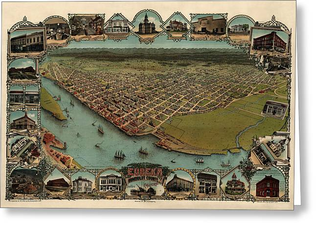 Antique Map Of Eureka California By Noe And Georgeson - 1902 Greeting Card