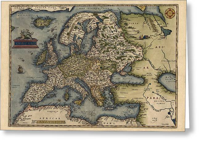 Antique Map Of Europe By Abraham Ortelius - 1570 Greeting Card