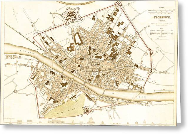 Antique Map Of Florence Italy 1835 Greeting Card