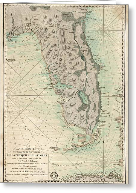 Antique Map Of Florida - 1780 Greeting Card by Blue Monocle
