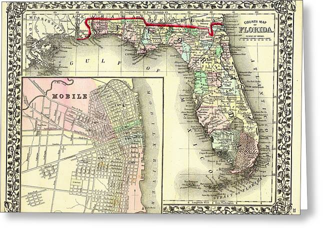 Antique Map Of Florida 1874 Greeting Card by Mountain Dreams