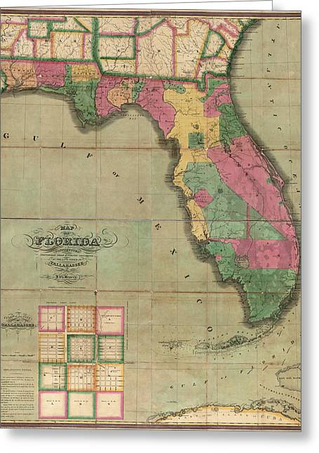 Antique Map Of Florida By I. G. Searcy - 1829 Greeting Card by Blue Monocle