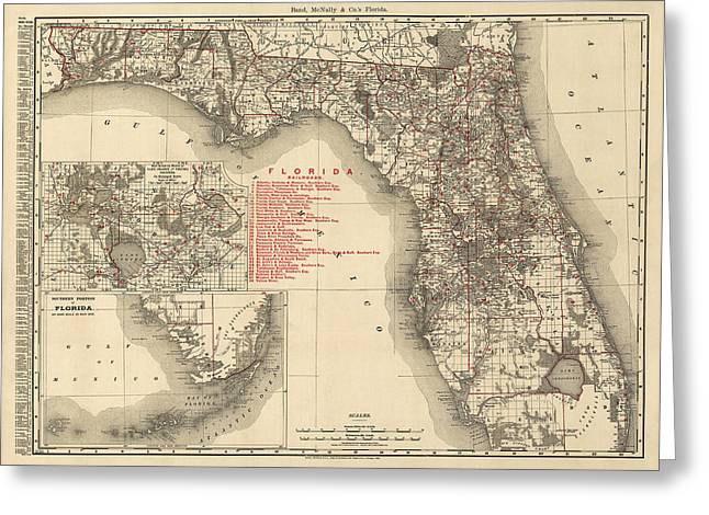 Antique Map Of Florida By Rand Mcnally And Company - 1900 Greeting Card by Blue Monocle