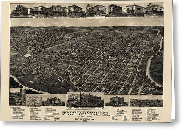 Antique Map Of Fort Worth Texas By H. Wellge - 1886 Greeting Card