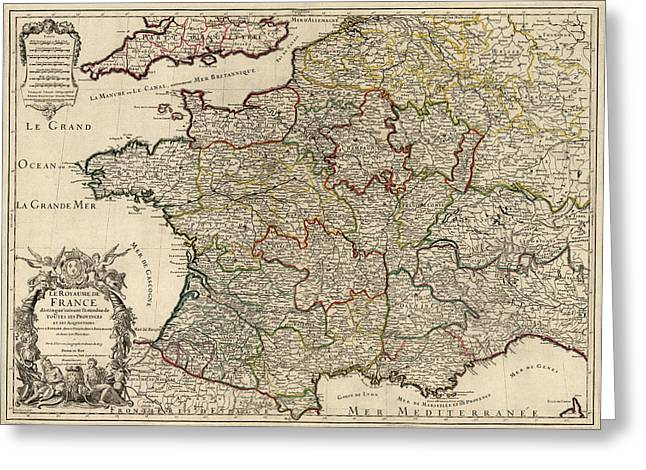 Antique Map Of France By Alexis Hubert Jaillot - 1724 Greeting Card by Blue Monocle