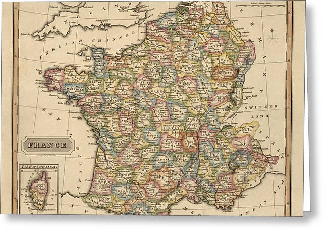 Antique Map Of France By Fielding Lucas - Circa 1817 Greeting Card by Blue Monocle
