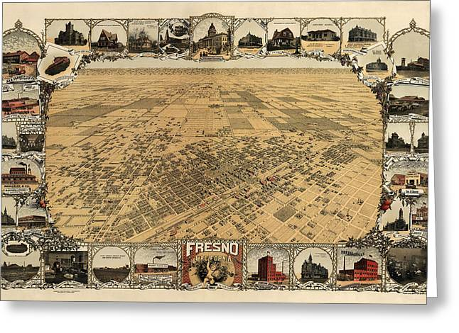 Antique Map Of Fresno California By L. W. Klein - 1901 Greeting Card by Blue Monocle