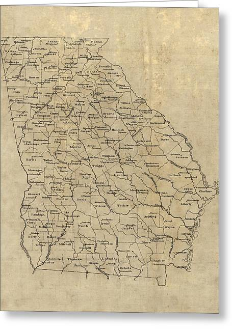 Greeting Card featuring the drawing Antique Map Of Georgia - 1893 by Blue Monocle