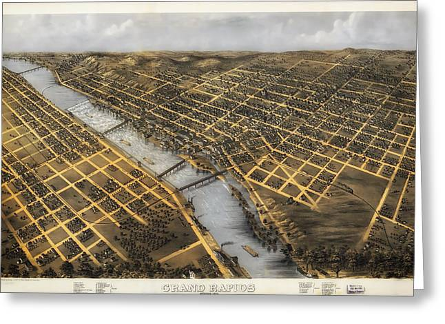 Antique Map Of Grand Rapids Michigan 1868 Greeting Card by Mountain Dreams