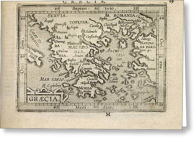 Antique Map Of Greece By Abraham Ortelius - 1603 Greeting Card