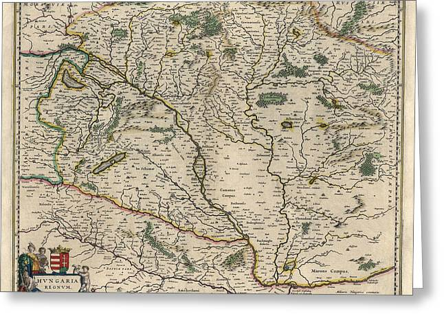 Greeting Card featuring the drawing Antique Map Of Hungary By Willem Janszoon Blaeu - 1647 by Blue Monocle