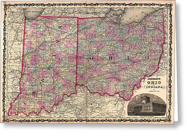 Antique Map Of Indiana And Ohio Greeting Card