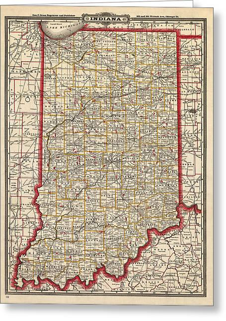 Antique Map Of Indiana By George Franklin Cram - 1888 Greeting Card by Blue Monocle