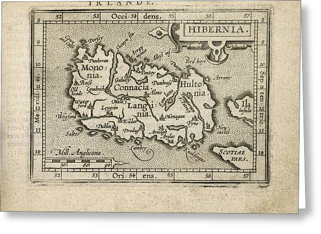 Antique Map Of Ireland By Abraham Ortelius - 1603 Greeting Card