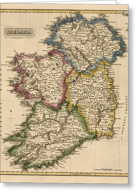 Antique Map Of Ireland By Fielding Lucas - Circa 1817 Greeting Card by Blue Monocle