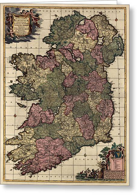 Antique Map Of Ireland By Frederik De Wit - Circa 1700 Greeting Card by Blue Monocle