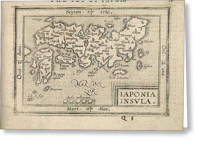 Antique Map Of Japan By Abraham Ortelius - 1603 Greeting Card