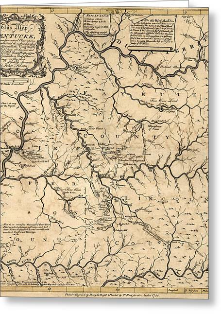 Antique Map Of Kentucky By John Filson - 1784 Greeting Card by Blue Monocle