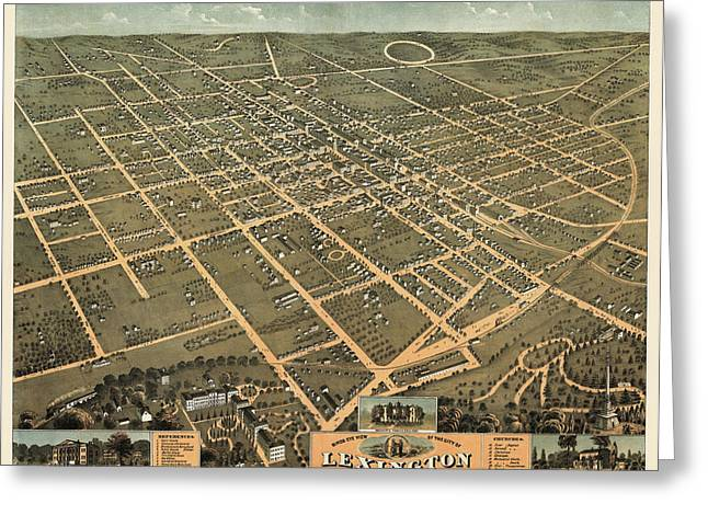 Antique Map Of Lexington Kentucky By A. Ruger - 1871 Greeting Card by Blue Monocle