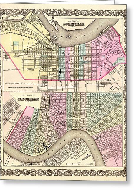 Antique Map Of Louisville And New Orleans 1855 Greeting Card