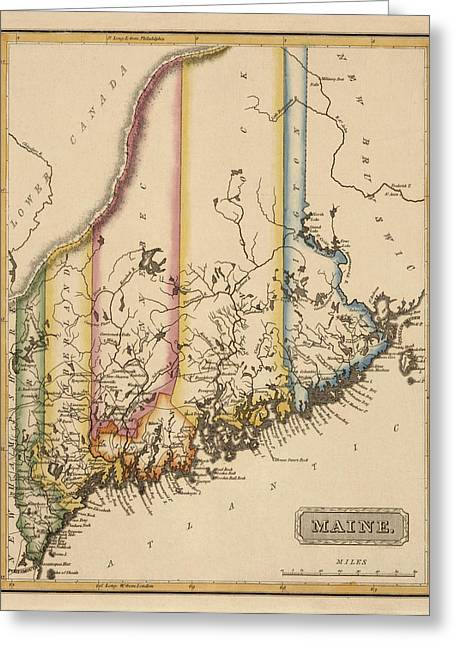 Antique Map Of Maine By Fielding Lucas - Circa 1817 Greeting Card by Blue Monocle