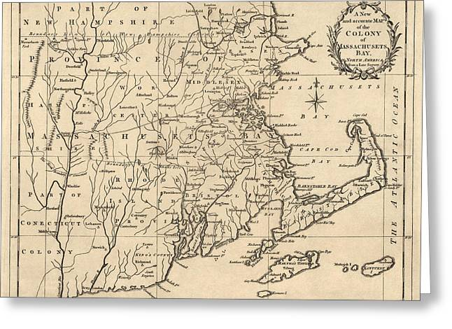 Antique Map Of Massachusetts By John Hinton - 1780 Greeting Card by Blue Monocle