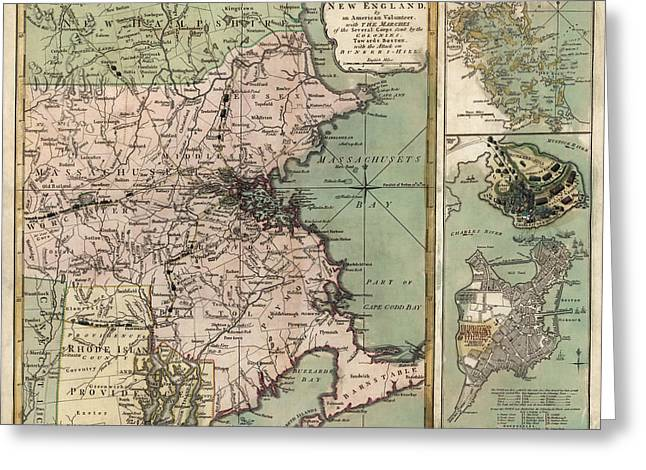 Antique Map Of Massachusetts By R. Sayer And J. Bennett - 1775 Greeting Card