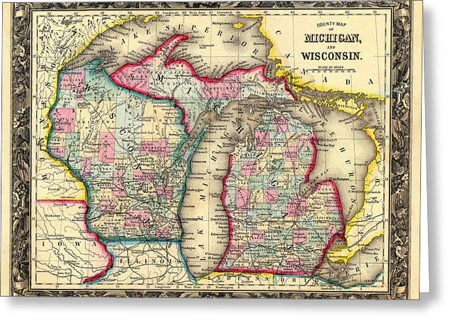 Antique Map Of Michigan And Wisconsin 1860 Greeting Card by Mountain Dreams