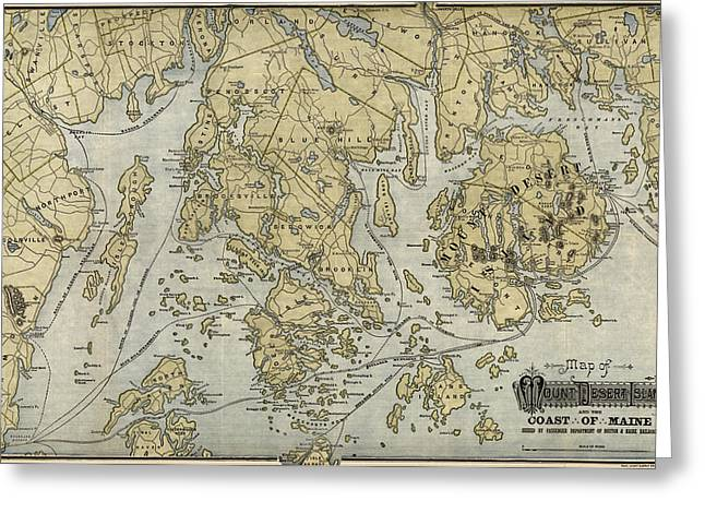 Antique Map Of Mount Desert Island And The Coast Of Maine - Circa 1900 Greeting Card by Blue Monocle