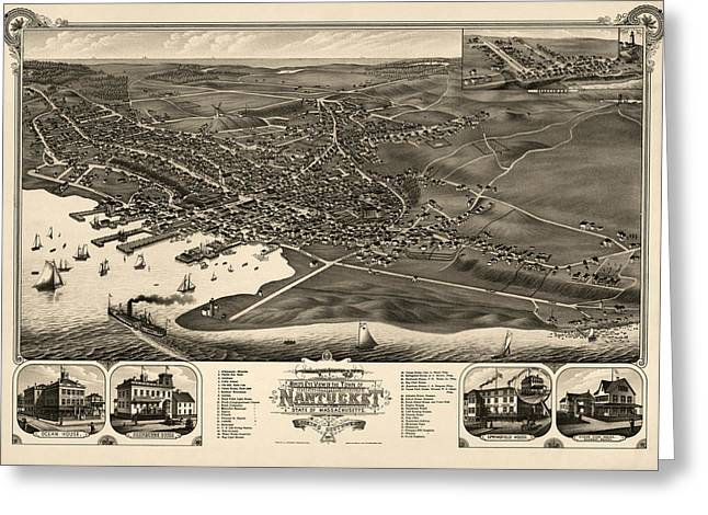 Antique Map Of Nantucket Massachusetts By J.j. Stoner - 1881 Greeting Card