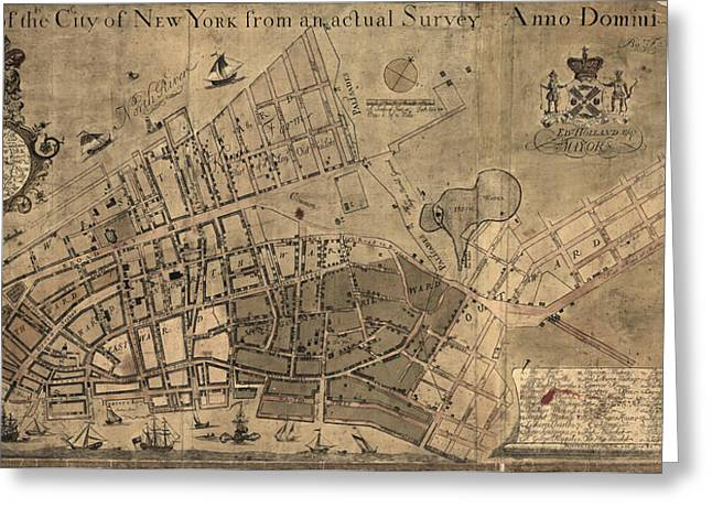 Antique Map Of New York City By Francis W. Maerschalck - Circa 1755 Greeting Card by Blue Monocle