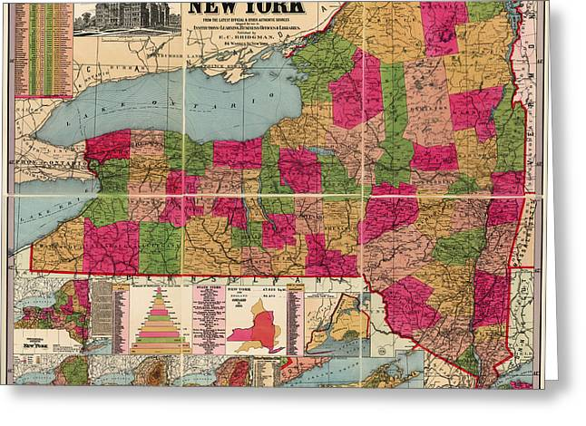 Greeting Card featuring the drawing Antique Map Of New York State By E. C. Bridgman - 1896 by Blue Monocle