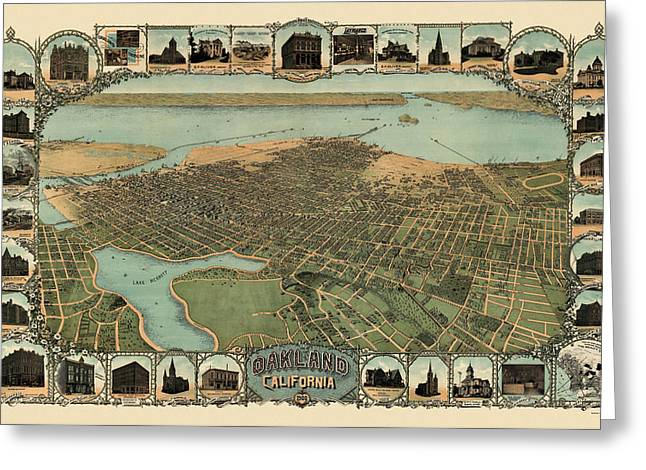Antique Map Of Oakland California By Fred Soderberg - 1900 Greeting Card by Blue Monocle