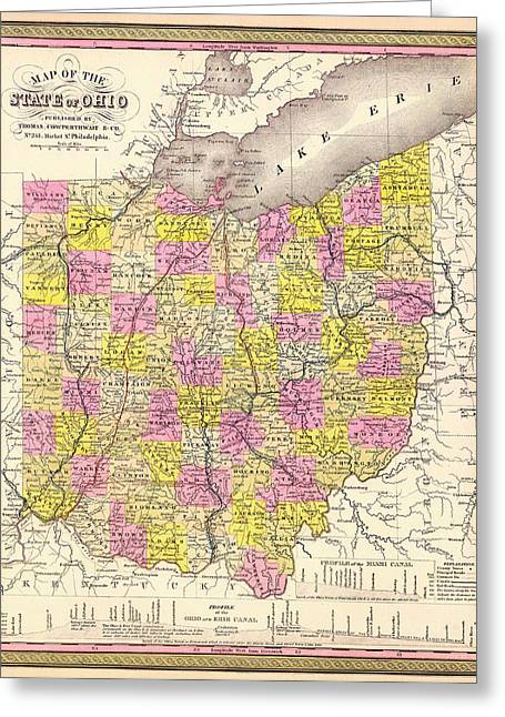 Antique Map Of Ohio 1850 Greeting Card