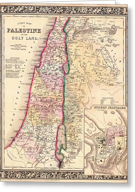 Antique Map Of Palestine Or Holy Land 1864 Greeting Card