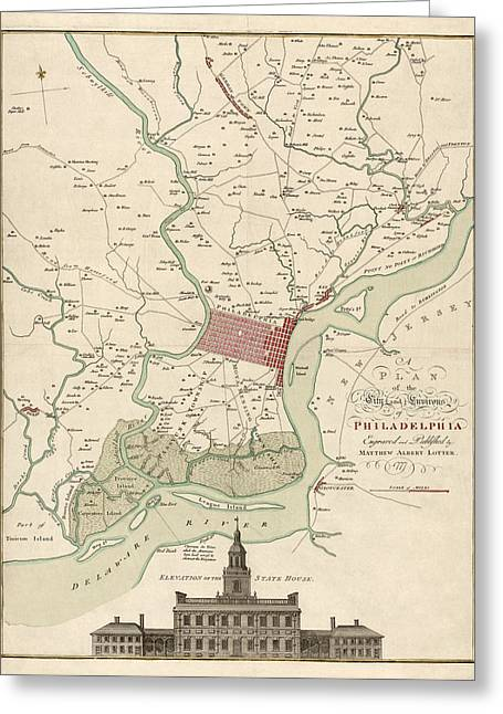 Antique Map Of Philadelphia By Matthaus Albrecht Lotter - 1777 Greeting Card by Blue Monocle