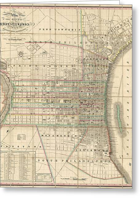 Greeting Card featuring the drawing Antique Map Of Philadelphia By William Allen - 1830 by Blue Monocle