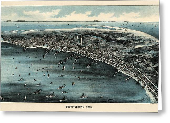 Antique Map Of Provincetown Massachusetts - 1910 Greeting Card
