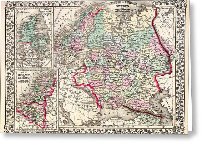 Antique Map Of Russia 1874 Greeting Card by Mountain Dreams