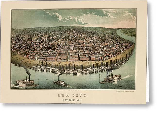 Antique Map Of Saint Louis Missouri By A. Janicke And Co. - Circa 1859 Greeting Card