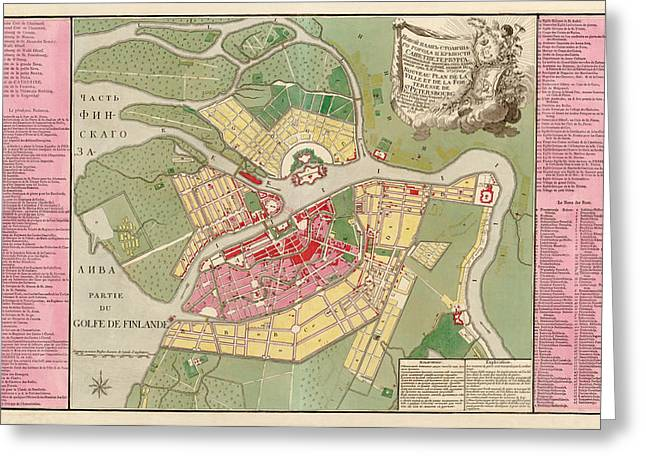 Antique Map Of Saint Petersburg Russia By Christoph Melchior Roth - 1776 Greeting Card by Blue Monocle