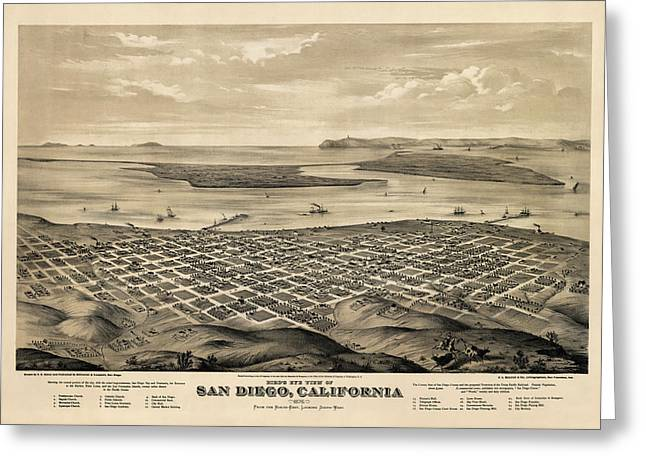 Antique Map Of San Diego California By E.s. Glover - 1876 Greeting Card by Blue Monocle