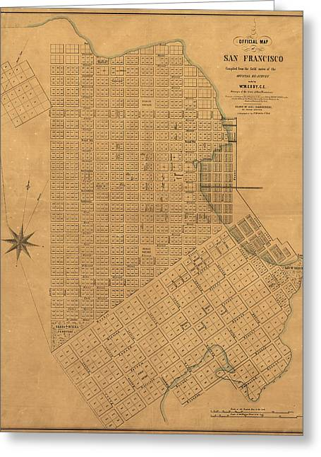 Antique Map Of San Francisco By William M. Eddy - 1849 Greeting Card by Blue Monocle
